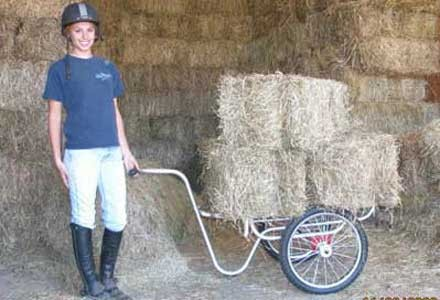 Muck Caddy carrying hay
